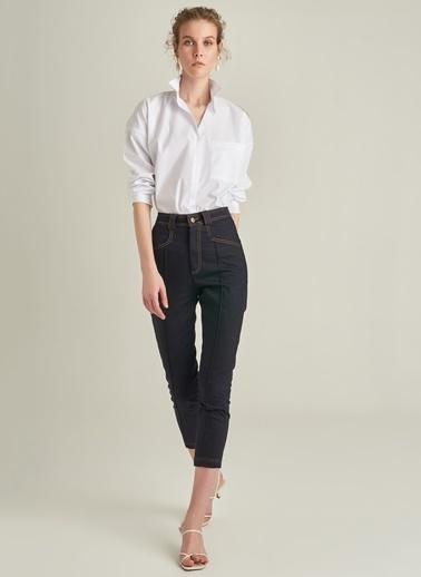 Ng Style Kontrast Dikiş Detaylı Jean Pantolon Lacivert